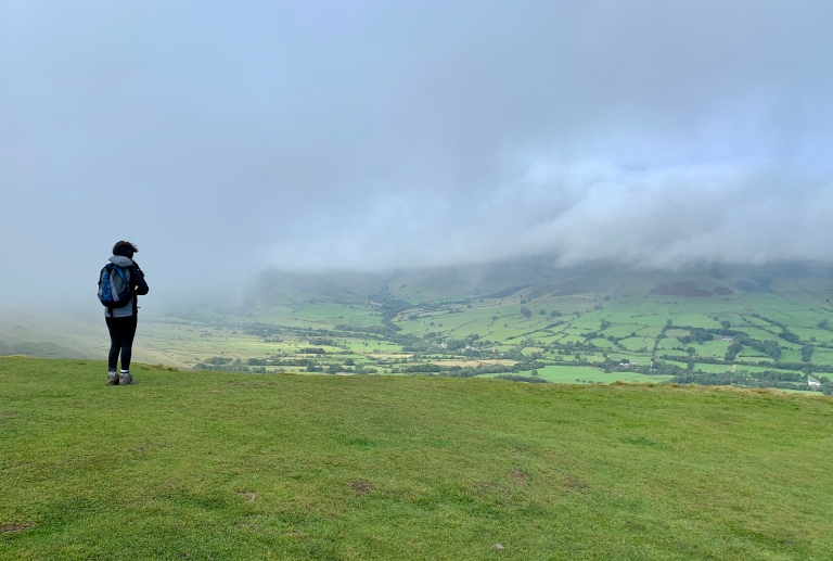 Views at the top of Mam Tor as the mist slowly clears